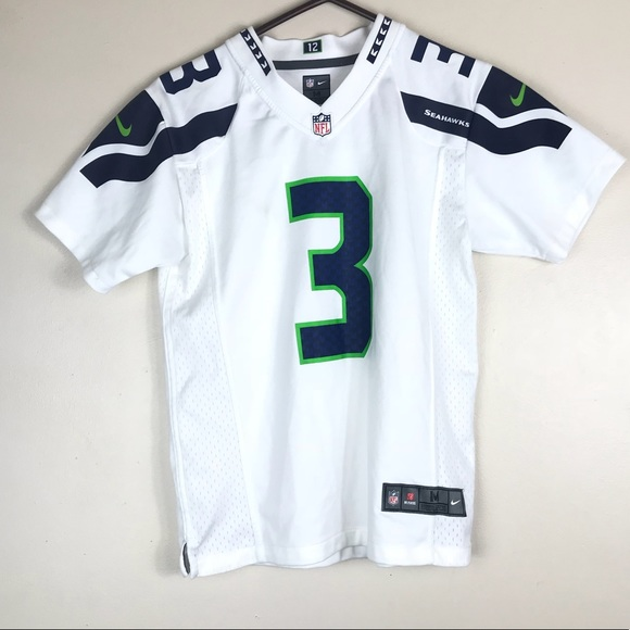 best authentic 29642 7a752 NIKE Russell Wilson Kids Medium White #3 Jersey